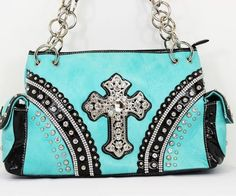 Rhinestone cross design handbag on a very beautiful turquoise color! More colors to choose from! #handbag #bling #fashion #unique #cross #turquoise