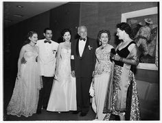 Formal Opening of Beverly Hilton Hotel 1955 | HRH Princess Fetheya of Egypt, Mr Riad Ghali and HM Queen Nazli