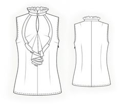 Sleeveless Blouse With Frilled Front - Sewing Pattern #4074 - $2.49 (Enter your measurements for a custom-size pattern!)