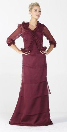 a77c198ebde Long Modest Formal Dress Burgundy Ruffles Bolero Jacket Layered Skirt   147.99 Modest Formal Dresses