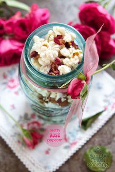 Pretty Rose Popcorn | for baby shower, tea party, bridal shower or wedding day | FamilyFreshCooking.com