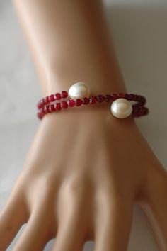 Wrap bracelet Ruby Jade and pearl Bracelet Wire by stylelovers