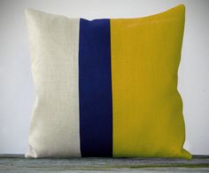Color Block Pillow 20x20 Mustard Yellow, Navy and Natural Linen by JillianReneDecor - Colorblock Striped Trio.