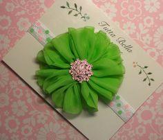 Maçã verde Flor Faixa de Cabelo, Rosa & verde do bebê Laço de Cabelo, Cabelo Flor Rhinestone Bow, Baby Faixa de Cabelo, Baby Girl Bow, recém-nascido Criança headband