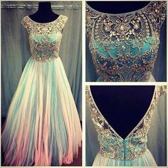 Elegant Beaded Tulle Ball Evening Prom Dress Long Formal Pageant Party Dresses | eBay