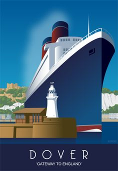 Dover Harbour from out at sea. Modern Railway Poster style Design by www.whiteonesugar.co.uk