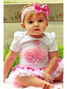 Girls Birthday :: All Girls Birthday Outfits :: 1st Birthday Dress Set For Baby Pink Cupcake Polkadot - Born Fabulous Boutique