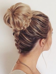 backside french braid into sock bun