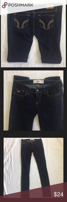 Hollister  Skinny Jeans Size 3 Hollister dark blue skinny jeans. Excellent condition  Size 3R Inseam approximately 30 inches (tag says 32) Please see pictures for other measurements Hollister Jeans Skinny