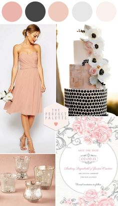 Shop the look! Wedding Ideas in Blush, Black & Gray! www.theperfectpalette.com - Color Ideas for Weddings + Parties!