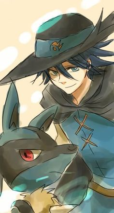 Lucario is always so serious when he is with his master!! I wonder why? ^-^