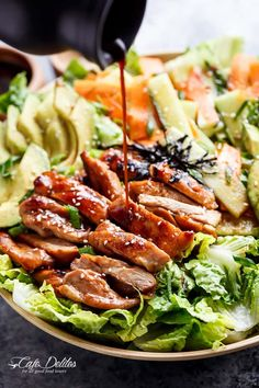 Teriyaki Glazed Chicken Salad | https://cafedelites.com