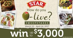 Enter STAR®'s How do you O-live? Sweepstakes for a chance to win up to $3,000. See Official Rules for details. #STAROlives #STARFineFoods