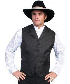 silver black mens western vest