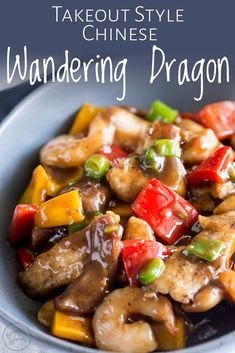 This Wandering Dragon Stir fry recipe is a wonderful mix of chicken, shrimp, onions and yellow and red peppers in a rich Chinese sauce. Chinese Cooking Wine, Chinese Takeaway, Asian Cooking, Chinese Food, Seafood Recipes, Chicken Recipes, Dinner Recipes, Cooking Recipes, Easy Chinese Recipes