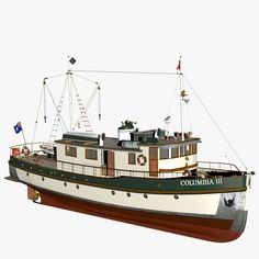 Columbia Mission Boat Model available on Turbo Squid, the world's leading provider of digital models for visualization, films, television, and games. Wooden Model Boats, Classic Wooden Boats, Boat Projects, Old Boats, Model Hobbies, 3d Max, Boat Plans, Model Ships, Boat Building