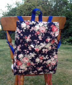 Navy Rose Canvas Backpack fully lined