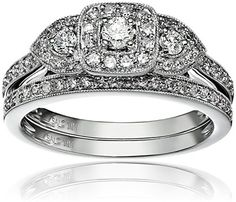 Promise Rings Simple | 14k White Gold Diamond Halo Frame Bridal Set Ring 12cttw HI Color I1I2 Clarity Size 7 *** For more information, visit image link. Note:It is Affiliate Link to Amazon.