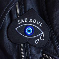 """""""SAD SOUL"""" patch... love how it is an upside heart!"""