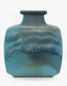 The large and impressive vase with rare blue semi matt talc glaze. One of only three Blossom vases made by Len Castle with this glaze. H. 560mm