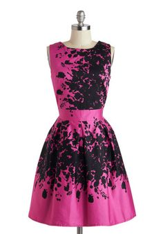 Size L Make the Rounds Dress in Fuchsia Bouquets - Mid-length, Pink, Black, Print, Crochet, Pockets, Party, Fit & Flare, Sleeveless, Scoop, Lace, W...