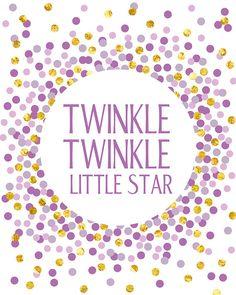 Twinkle Twinkle Little Star Print Digital Nursery Printable Nursery Wall Art Kids Room Printable Art Gold and Purple Nursery Confetti Decor