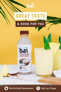 Go poolside with Bai Molokai Coconut this summer. With only 5 calories and 1 gram of sugar it makes for the perfect cocktail or mocktail mixer. Cocktails, Non Alcoholic Drinks, Party Drinks, Cocktail Drinks, Fun Drinks, Healthy Drinks, Beverages, Smoothies, Smoothie Drinks