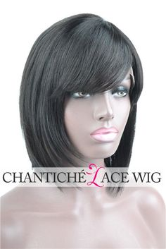 Bob Style Lace Front Wig With Bangs Brazilian Human Hair Full Lace Wigs 14 Inch