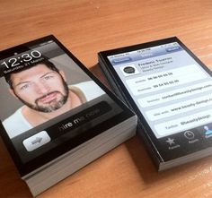 """Business Card: This is a very creative """"Hire Me Now"""" business card idea for people sending in a ton of resumes. @SKITkids Iphone, Unique Business Cards, Creative Business, Business Card Design, Mobile Marketing, Marketing Ideas, Name Cards, Gadgets, Entrepreneur"""
