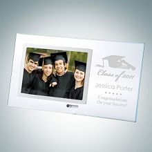 Engraved Clear Glass Graduation Horizontal Stainless Photo Frames