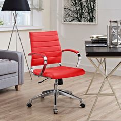 Modway Jive Black Ribbed Vinyl Mid-back Executive Office Chair (Red)