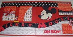 Premade scrapbook page - MICKEY MOUSE- double page layout