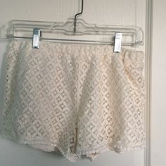 For Sale: Aeropostale Cream Lace Shorts for $6