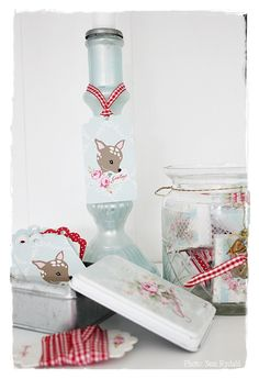 GreenGate Gift Tags and Ribbon in Tin box Amy