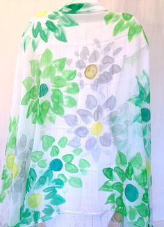 Hand Painted Silk Shawl Scarf Green Silk by SilkScarvesTakuyo