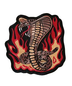 Cobra Coiled Snake with Fire Mid Size 4.25 Inch Wide Embroidered Iron On Patch