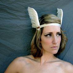 Greek Goddess Feathered Headband White Gold by darkponydesigns, $27.75