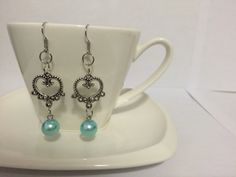 Elegant Blue Pearl Earrings by SamsAwesomeCreations on Etsy