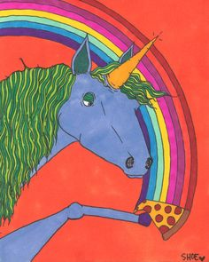 Unicorns love Pizza drawing by ShoeMarleyArt on Etsy, $15.00