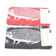 Lapuan Kankurit Hedgehog Tea Towel: Washed linen and cotton mix tea towel with hedgehog motif. Available white and red or black and white.