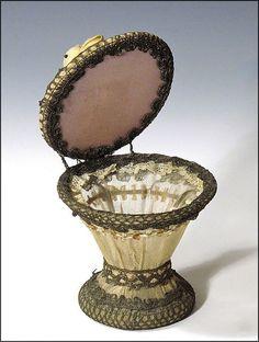 French Powder Jar with Stumpwork Fruit, Metallic Lace, Ribbon Work, from oh on Ruby Lane