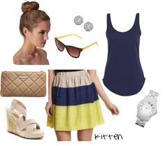 """Tan and Navy"" by kittenlynda on Polyvore"