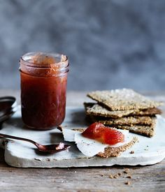 Cloudy quince jam with Manchego seed crackers recipe :: Gourmet Traveller