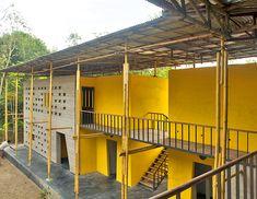 bamboo architecture, SchilderScholte, Pani Community Center, Rajarat, rainwater collection, recycled corrugated metal