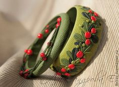 Polymer clay bracelet / Multi strand beads beaded bracelet / Red berry bracelet / Handmade bracelet / Bangle set / Japanese bead by FashionofindiaShop on Etsy Fancy Jewellery, Thread Jewellery, Silk Thread Bangles Design, Fabric Jewelry, Beaded Jewelry, Beaded Bracelet, Polymer Clay Creations, Polymer Clay Crafts, Polymer Clay Embroidery