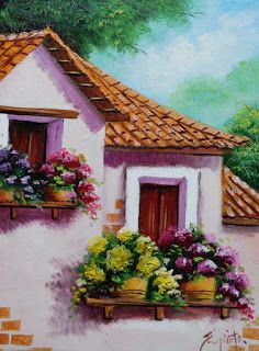 cuadros-balcones-fachadas Car Painting, House Painting, Landscape Art, Landscape Paintings, Pictures With Meaning, Structure Paint, Car Paint Colors, Country Landscaping, Window Art