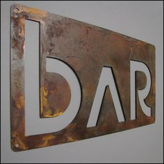 Euro BAR sign in Rusted Steel by studio724 on Etsy, $48.00