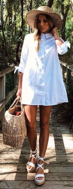 #spring #outfits Beach Hat + White Shirt Dress + White Sandal Wedge