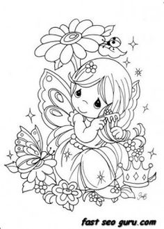 Precious Moments girl with flowers coloring pages - Printable Coloring Pages For Kids