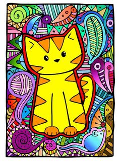 Meow Meow (=^~^=) coloring Cat Coloring Page, Cool Coloring Pages, Coloring Books, Drawing For Kids, Art For Kids, Animal Drawings, Art Drawings, Classroom Art Projects, Animal Graphic